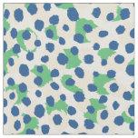 Chic colourful green blue cheetah print polka dots fabric
