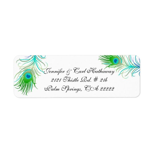 Chic Colourful Peacock Feathers Custom Return Address Label