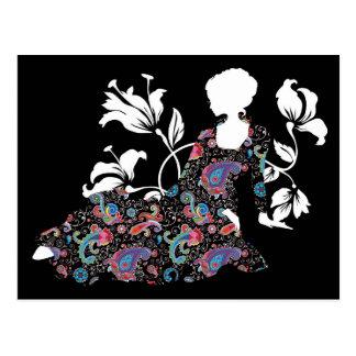 Chic cool fashion elegant hand drawn illustration postcard