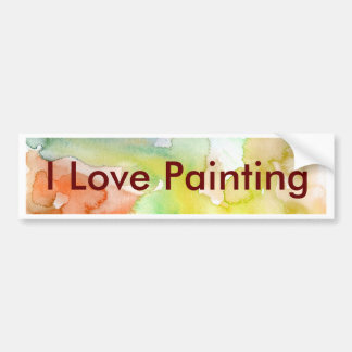 Chic Cool Teal Blue Red Yellow Abstract Watercolor Bumper Sticker
