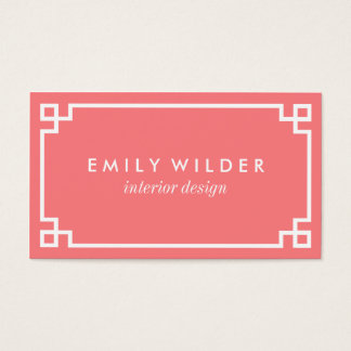 Chic Coral and White Greek Key Business Card