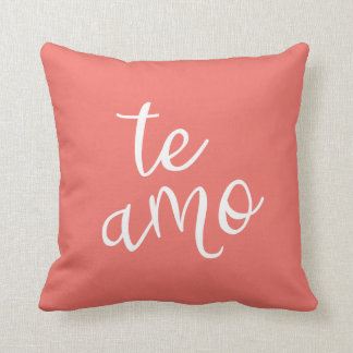 Chic Coral and White Spanish I Love You Te Amo Cushion