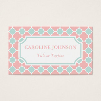 Chic Coral Pink Mint Green White Quatrefoil Business Card