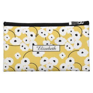.CHIC COSMETIC BAG-MOD WHITE & BLACK POPPIES COSMETIC BAG