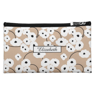 .CHIC COSMETIC BAG-MOD WHITE & BLACK POPPIES MAKEUP BAG