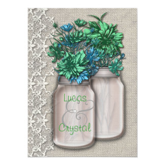 Chic Country Charm Mason Jar Wedding Invitation