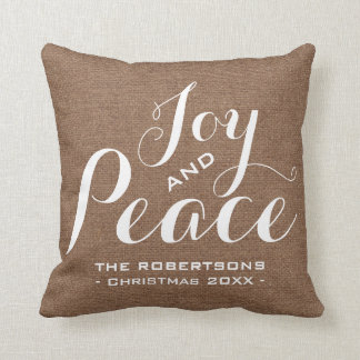 Chic Country Home Christmas Joy Pillow Faux Burlap