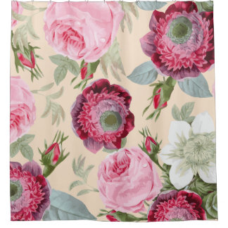 Chic Country Signature Pink Floral Shower Curtain