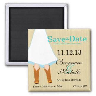 Chic Country Wedding Boots Save The Date Magnet