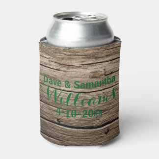 Chic Country Wood Mr. Mrs. Wedding Favor Can Cooler