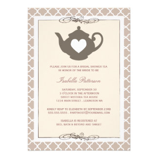 Chic Cream Brown Teapot Bridal Shower Tea Party Personalized Invites