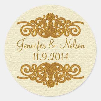 Chic Cream & Gold Tone Wedding Envelope Seal Round Stickers