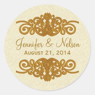 Chic Cream & Gold Tone Wedding Envelope Seal Classic Round Sticker