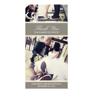 CHIC CREAM GRATITUDE WEDDING THANK YOU CARD PERSONALIZED PHOTO CARD