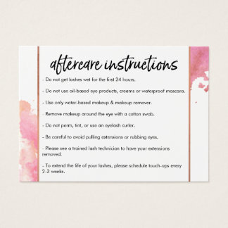 Chic Creative Watercolor Lash Salon II Aftercare Business Card