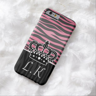 Chic crown with pink and black zebra print barely there iPhone 6 case