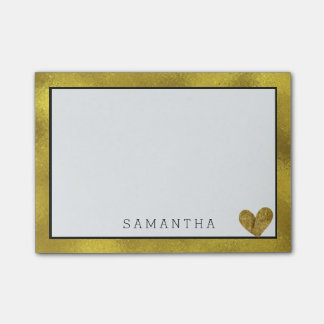Chic Crystal Gold Abstract with Heart Post-it Notes