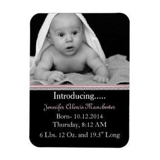 Chic Custom Baby Photo Birth Announcement Magnet