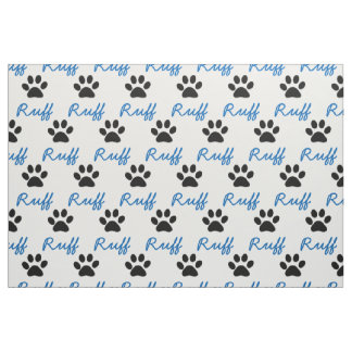 "CHIC CUSTOM FABRIC_BLUE ""RUFF"", BLACK PAW PRINT FABRIC"