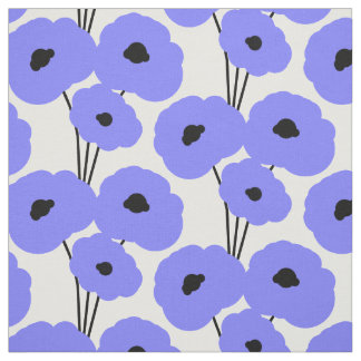 CHIC CUSTOM FABRIC_MOD PERIWINKLE & BLACK POPPIES FABRIC