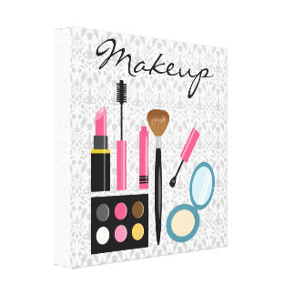 Chic Cute Makeup Kit Stretched Canvas Print