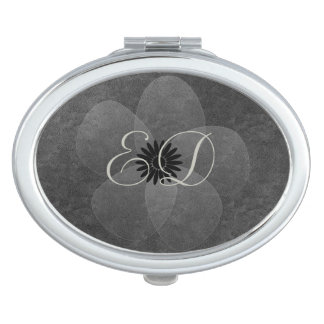 Chic Cute Silver Grey Sheer Flower Add Initials Travel Mirror
