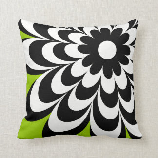 Chic Daisy Personalized Throw Pillow - Lime Green