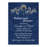 Chic Damask and Peacock Feather Wedding Rehearsal Custom Invite