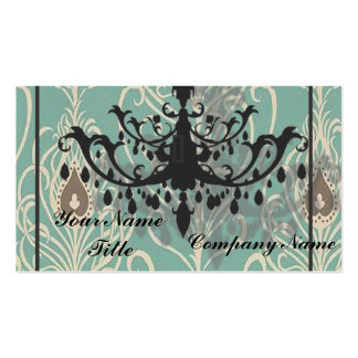 Chic Damask Chandelier Business Card