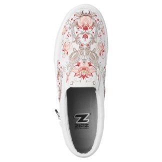 Chic Damask Floral Pattern Monogram Slip On Shoes