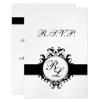 Chic Damask Monogram Wedding RSVP Card Silver 9 Cm X 13 Cm Invitation Card