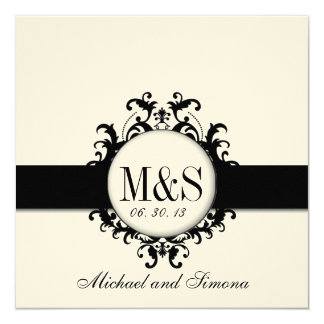 Chic Damask Monograms Wedding Black Cream Card