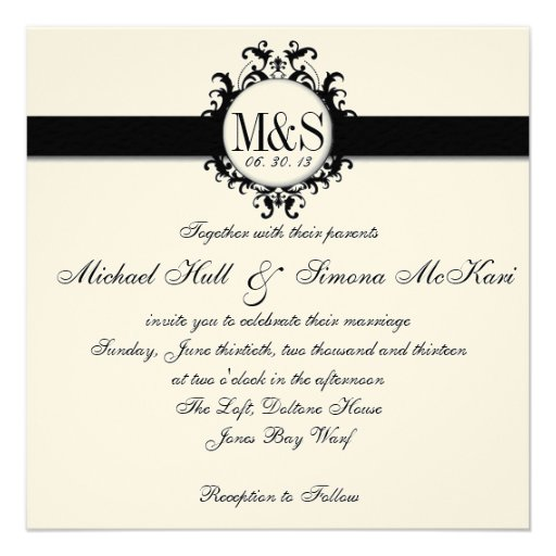 Chic Damask Monograms Wedding Black Cream Invitations