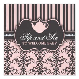 Chic Damask Pink Sip and See Baby Tea Invitation