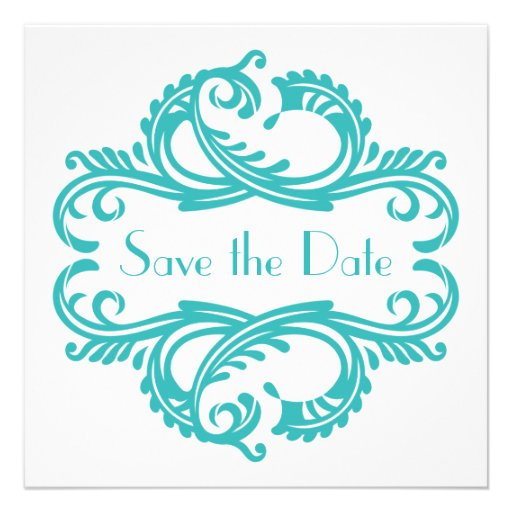 Chic Damask Save the Date, Aqua Announcements