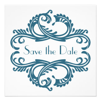 Chic Damask Save the Date Blue Announcements