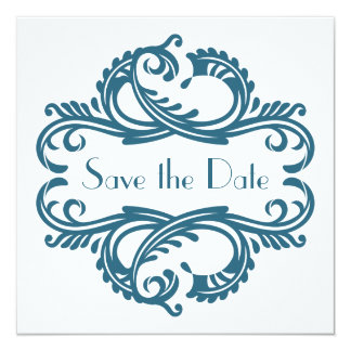 Chic Damask Save the Date, Blue 5.25x5.25 Square Paper Invitation Card