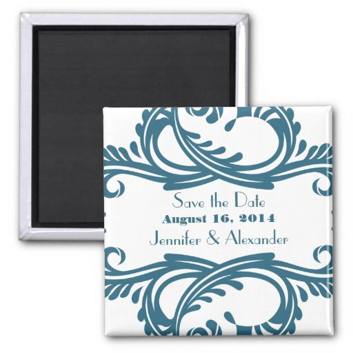 Chic Damask Save the Date Magnet, Blue