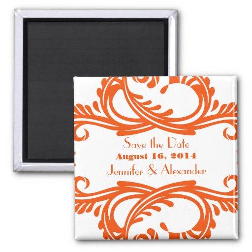 Chic Damask Save the Date Magnet, Orange