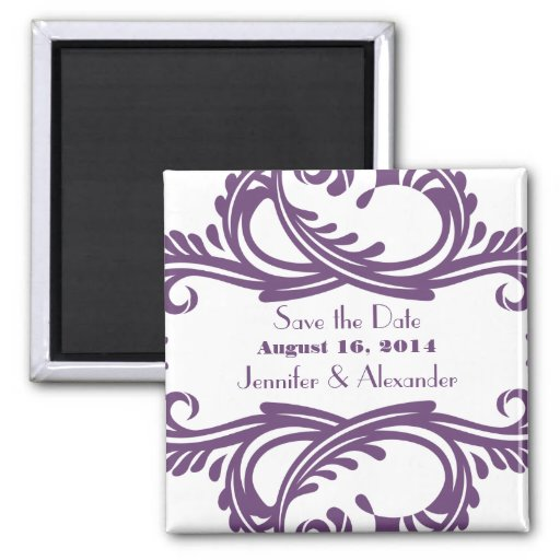 Chic Damask Save the Date Magnet, Purple