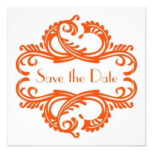 Chic Damask Save the Date, Orange Personalized Invite