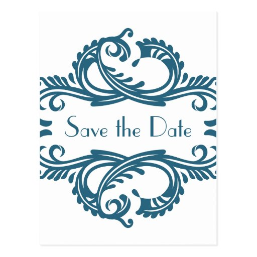 Chic Damask Save the Date Postcard, Blue