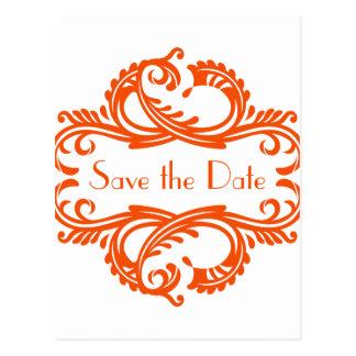 Chic Damask Save the Date Postcard, Orange