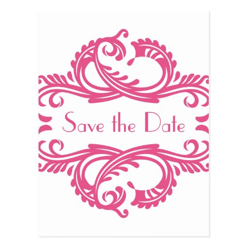 Chic Damask Save the Date Postcard, Pink
