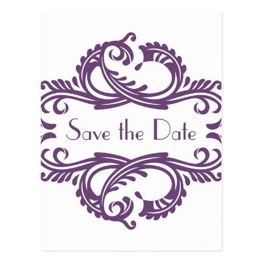 Chic Damask Save the Date Postcard, Purple