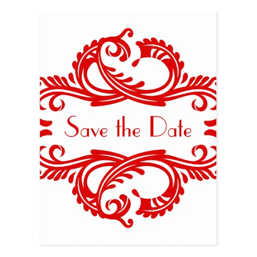 Chic Damask Save the Date Postcard, Red