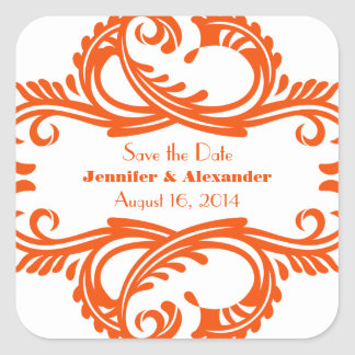 Chic Damask Save the Date Stickers, Orange
