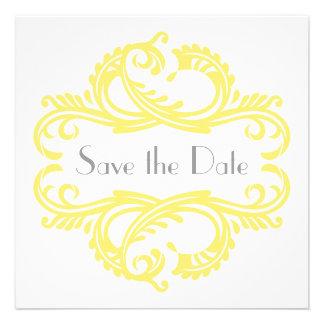 Chic Damask Save the Date Yellow Custom Invitations