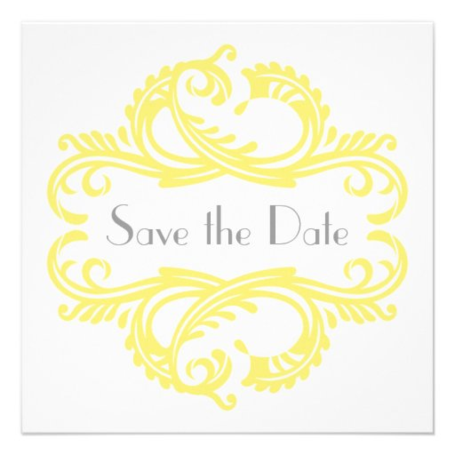Chic Damask Save the Date, Yellow Custom Invitations
