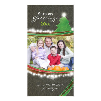 Chic Damask Seasons Greetings Christmas Photocards Picture Card